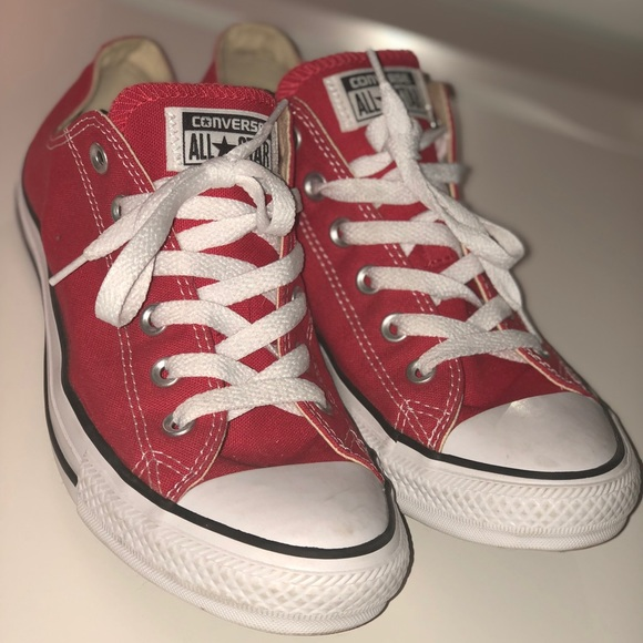 0dd7a728725c Converse Shoes - Red Converse All-Stars Low Top Womens 10 Worn Once
